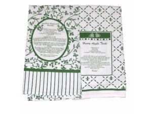 Design Imports Kitchen Recipe Towel Set of  2 Green Towels
