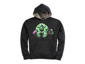 Marvel Boys Black The Incredible Hulk Pullover Hoodie Realtree Sweatshirt