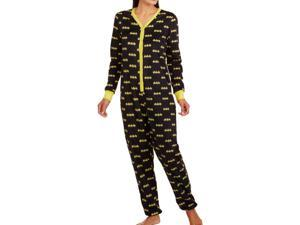 Warner Brothers Womens Black Batman Plush Fleece Drop Seat Pajama Unionsuit PJs