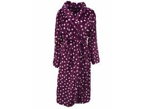 Covington Womens Plush Purple Polka Dot Robe Fleece Housecoat S
