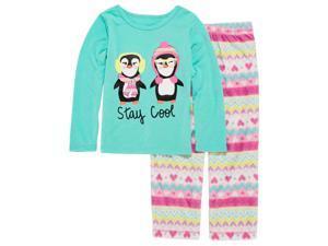 Okie Dokie Toddler & Girls Stay Cool Penguin Pajama 2 Piece Nordic Sleep Set