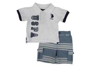 U.S. Polo Assn. Infant & Toddler Boys White Shirt & Striped Shorts Set