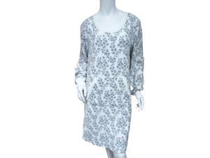 Soft Sensations Womens White Snow Leopard Fleece Sleep Shirt Stretch Nightgown
