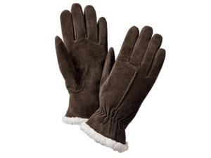 Isotoner Womens Chocolate Brown Suede Gloves with Sherpasoft Lining