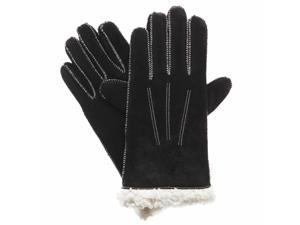 Isotoner Womens Moccasin Stitched Black Suede Gloves With Sherpasoft Lining