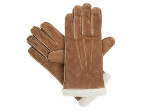Isotoner Womens Moccasin Stitched Luggage Brown Suede & Sherpasoft Gloves