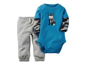 Carters Infant Boys 2-Piece Blue Camouflage Husky Bodysuit & Sweatpants Set