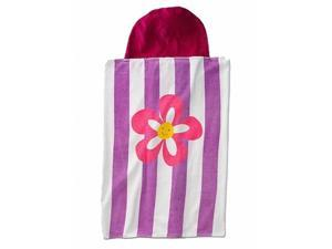 Jumping Beans Pretty Flower Hooded Bath Towel Child Size Pink Purple Cotton Wrap