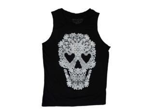 Fifth Sun Womens Black Lacy Skull Print Halloween T-Shirt Tank Top Shirt X-Small