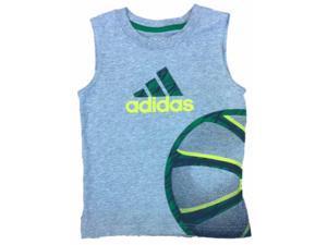 Adidas Toddler Boys Gray Sleeveless Basketball Themed Athletic Shirt