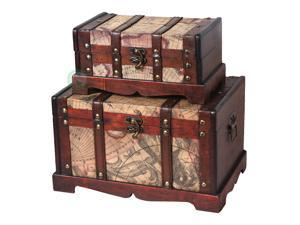 Old World Map Wooden Trunk Set of 2
