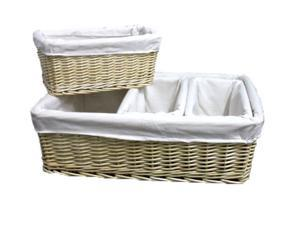 Willow Baskets with Fabric Lining, Set of 4