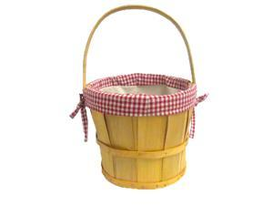 Woodchip Bushel Basket with Red Ginghan Lining