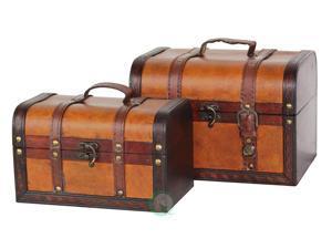 Decorative Leather Treasure Box - Small Trunk Ches