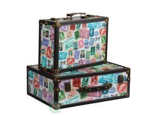 World Stamp Travel Suitcase Set of 2