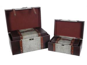 """Reserved"" Leather Trunk, Designer Treasure Chest Set of 4"