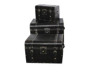Large Storage Trunk Set of 3 Black Leather