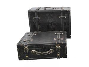 ANTIQUE STYLE SUITCASE WITH STRIPES SET OF 2 Black Leathe