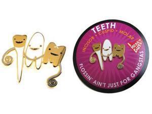 Teeth Lapel Pin Flossin' Ain't Just for Gangstas I Heart Guts Gold