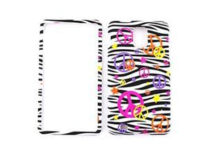 Cell Armor Snap-On Case for Samsung Infuse I997 - Colorful Peace Signs on Black Zebra Print