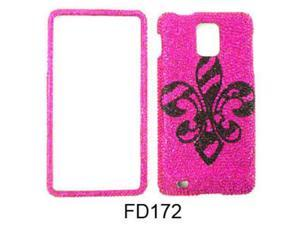 Snap-On Protector Case for Samsung Infuse 4G I997 (Full Diamond Crystal/Black Royal Badge on Pink)