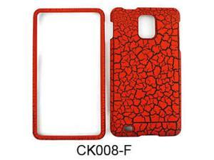 Snap-On Protector Case for Samsung Infuse 4G I997 (Burn Orange Egg Crack/Leather Finish)