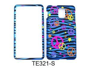 Snap-On Protector Case for Samsung Infuse 4G I997 (Trans. Design/Colorful Peace Signs on Blue Zebra)