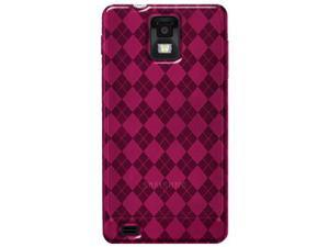 Amzer Luxe Argyle High Gloss TPU Soft Gel Skin Case - Hot Pink For Samsung Infuse 4G I997