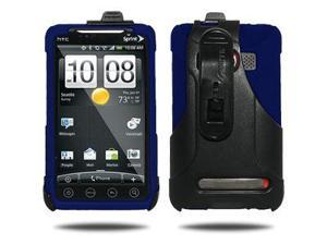 Amzer Silicone Jelly Skin + Face Out Swivel Holster Combo - Blue For HTC EVO 4G