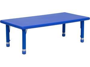 24''W X 48''L Height Adjustable Rectangular Blue Plastic Activity Table
