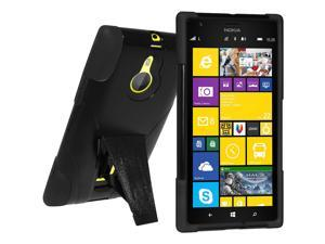 Amzer Double Layer Hybrid Case with Kickstand - Black/ Black for Nokia Lumia 1520