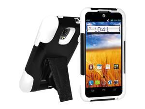 Amzer Double Layer Hybrid Case with Kickstand - Black/ White