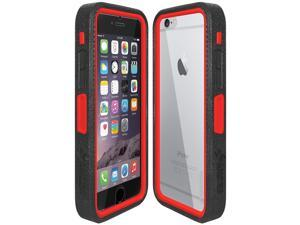 Amzer CRUSTA Rugged Case Black on Red Shell Tempered Glass with Holster for iPhone 6 Plus