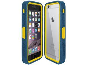 Amzer CRUSTA Rugged Case Blue on Yellow Shell Tempered Glass with Holster for iPhone 6 Plus