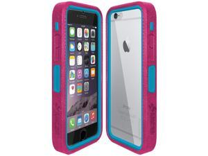 Amzer CRUSTA Rugged Case Magenta on Blue Shell Tempered Glass with Holster for iPhone 6 Plus