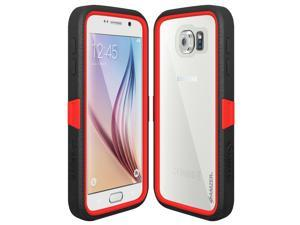 Amzer CRUSTA Rugged Case Black on Red Shell Tempered Glass with Holster for Samsung Galaxy S6 SM-G92