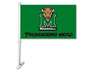 Bsi Products Inc Marshall Thundering Herd Car Flag With Wall Brackett Car Flag