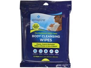 "ENSPIRE E1012QC 10"""" x 12"""" Body Cleansing Wipes, 12 pk"