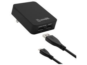 LENMAR ACUSB3MIC Dual-USB Power Adapter with Micro USB Cable (Black)