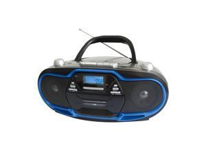 Supersonic SC-745 Portable Boombox Blue AM/FM MP3 USB/AUX CD W/Cassette Recorder