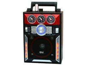 QFX Karaoke Multimedia Speaker withAM/ FM Radio- Red