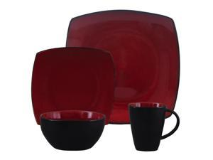 Gibson 68182.16 16-Piece Red Square Dinnerware Set Soho Lounge Series