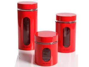 Mr.Coffee 92011.03 Java Bar Set of 3 Glass Caniser Set - Red