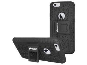 Amzer Rugged Hybrid Warrior kickStand Case Cover for iPhone 6 / 6S - Black