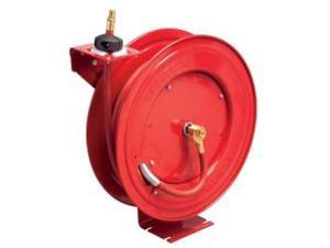 "Retractable Air Hose Reel, 3/8"""" I.D. x 50 ft, 1/4"""" NPT Male Fittings, Red Metal Housing, Auto Rewind"