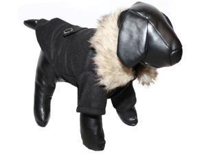 Buttoned 'Coast-Guard' Fashion Faux-Fur Collared Wool Pet Coat- Black/Brown