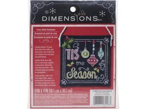 """Tis The Season Ornament Counted Cross Stitch Kit-4""""""""X4"""""""" 14 Count"""