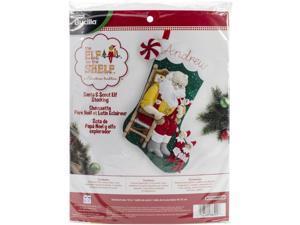 "Elf On The Shelf Santa & Scout Stocking Felt Applique Kit-18"""" Long"