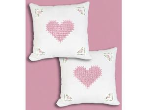 "Stamped White Pillowtops 15""""X15"""" 2/Pkg-Chicken Scratch Hearts"