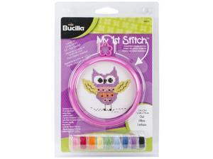 "My 1st Stitch Owl Mini Counted Cross Stitch Kit-3"""" Round 14 Count"